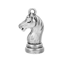 Wholesale Chess Necklace - My Shape Fashion Jewelry SeriesAntique Silver Plated Zinc Alloy Knight Chess Horse Charm For Necklace And Bracelet