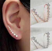 Wholesale rhodium hooks resale online - CZ Diamond Clip Cuff Earrings White Rose Gold Plated Dipper Hook Stud Earrings Jewelry for Women Earring ZL