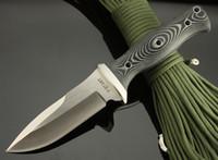 düz bıçak taktik toptan satış-En kaliteli Walter Brend Taktik düz bıçak, AUS-8 59HRC Blade, Saten, Micata, leathe kılıf ile Açık kamp sağkalımı bıçak Kulp
