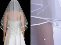 ingrosso rhinestones di velare di cerimonia nuziale del gomito-Vendita calda 100% nuovo avorio / bianco due livelli gomito argento strass da sposa velo con pettine netto in magazzino