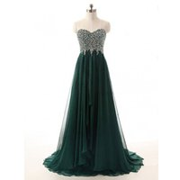 Wholesale Vintage Sequin Beaded Ivory Top - Vintage Elegant Dark Green Evening Dress Sweetheart Sleeveless Hunter Green Beaded Top Custom Made Prom Party Gowns Long Formal Wear