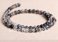 Wholesale Dragon Vein 6mm - hot Free postage diy ornaments natural 4mm 6mm 8mm 10mm 12mm gray Dragon Veins Agate round beads jewelry making YE0014
