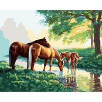 ingrosso tre pattini a cavallo-Tre cavalli Diamante ricamo da muro Decorazioni fai da te diamante pieno strass punto croce cucito 40x50cm HWB-475