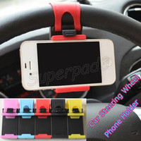 Wholesale Steering Bracket - Car Steering Wheel Cell Phone Holder Silicone Bracket Mount Stand For iPhone 7 7 Plus Samsung S7 Edge Note 7 Smartphones GPS PDA