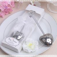 hora do chá do presente venda por atacado-200 pcs presente de casamento e brindes Tea Time Coração Chá Infusor Favor em Teatime Gift Box Frete grátis