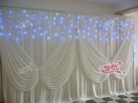 Wholesale Cake Table Swags - Luxury 3*6m 10ft*20ft ice silk White Color wedding Drape curtain with Angel wings Swag Stage Prop Fashion Drape Curtain Backdrops DHL