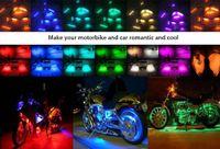 tira de luz led para motos. al por mayor-8pcs multicolor control remoto motocicleta LED atmósfera lámpara Flexible tira resplandor de luz,