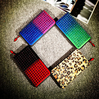 Wholesale Korean Party Dresses Women - wholesale Long Style Panelled Spiked Clutch Women's Patent Leather Mixed Color Rivets Party Clutches Lady Long Purses with Spikes