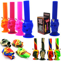 Wholesale folding smoking pipes resale online - Folded Silicone Water Pipes Ghost Skull Silicone Hookah Portable Unbreakable Camouflage Foldable quot Height Smoking Shisha with Downsteam