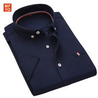 iş elbiseleri artı boyutu toptan satış-Toptan-erkek moda marka gömlek Mens kısa kollu elbise gömlek erkekler Klasik kolay bakım İş Resmi Gömlek Erkekler Artı boyutu XXXXL için