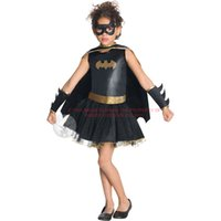 Wholesale wonder woman superhero costume for sale - Batman Kids Girls Tutu Black Leather Dress Superhero Halloween Christmas Birthday Party Costume Wonder Woman Superman Dress