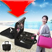 Wholesale Makeup Suitcases - 2016 High Quality Professional Makeup Organizer Bolso Mujer Cosmetic Case Travel Large Capacity Storage Bag Suitcases Cosmetic Bag