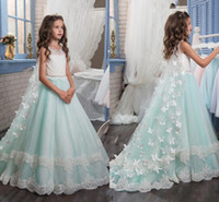 Wholesale White Lace Wrap For Girl - Princess Christmas Flower Girls Dresses For Weddings Sleeveless Butterfly Appliques Beautiful Girls Pageant Dress With Wrap Kids Party Drees