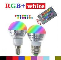 Wholesale ir light bulbs - 2016 Newest rgbw (rgb + white) e27 e26 e14 led bulbs light 5w rgb led lights for christmas lighting + ir remote contorl