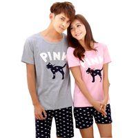 pijama camisa hombre al por mayor-Conjuntos de pijama de algodón par de verano para mujeres hombres Camisa de perro de dibujos animados animal pijama traje de los trajes de Pajama Femme Pijama