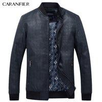 Wholesale best leather jackets - Wholesale- CARANFIER Men Simple PU Leather Jacket Men Super Soft Windproof Male Classic Tactical Cool Coat Best suitable for men M~XXXL