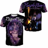 Wholesale University T Shirt Xl - Music Legend Prince Purple Rain 3D All Over Print T shirt Mens Women Couples Lover Junior Teenager Colleges University Tops Tee