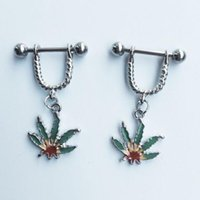 Wholesale Nipple Jewellery Piercing - 2016 Fresh Summer Style Green Leaf Nipple Piercing, Sexy Bar Rings Jewelry Creative Punk Body Jewellery Women Men Gift 2 Pcs