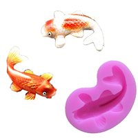 Wholesale silicone molds for candles - Wholesale- Silicone Fondant Cake molds 3D Fish Candle Moulds Soap Mold Chocolate Mould for The Baking Tools Cake