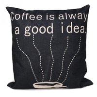 Wholesale Cushions Ideas - Coffee is Always a Good Idea Pattern Linen Throw Pillowcase Cushion Cover Home Sofa Car Decor