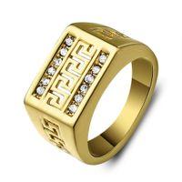 24k gold diamant ringe groihandel-24 Karat Gold Gefüllt Klassische Männer Ring Strass CZ Diamant Ehering Für Männer Verlobungsring Feine Jewely