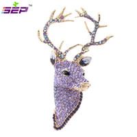Wholesale reindeer brooch - Rhinestone Reindeer Deer Head Brooch Pins Christmas Brooches Women Jewelry Accessories FA3181