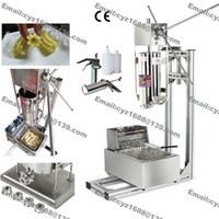 Wholesale Fryer Machine - Free Shipping Stainless Steel Manual 5L Spanish Donuts Churrera Churros Machine Maker with 5L Electric Fryer & Stand & 1L Filler