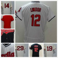 Cleveland 12 Francisco Lindor 14 Larry Doby 19 Bob Feller 29 Paige Baseball Trikots Cool Base Throwback genäht