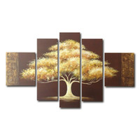 Wholesale Modern Tree Oil Paintings - Golden Tree Painting Canvas Wall Art Decor Modern Artwork Office Home Decoration Framed Painting Easy to Hang