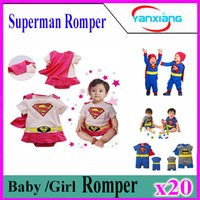 Wholesale Girls Superman Style Romper - 20pcs 5 Styles Baby One-Piece baby Romper boys girls Superman style Romper Superman Rompers Pink Supergirl romper Batman Clothes YX-HY-02