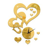 Wholesale Love Wall Watches - 2016 New Arrival Quartz Clocks Fashion Watches DIY 3D Real Large LOVE Wall Clock Mirror Sticker Diy Living Room Decor Free Shipping