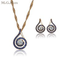 Wholesale Yellow Stone Earrings - (202S) MGFam Blue Stone Jewelry Set ( earrings pendant necklace) Women 18K Yellow Gold Plated Lucky Round Good Quality