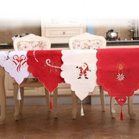 Wholesale Floral Table Runners - New Christmas Table Runner Embroidered Floral Lace Dust Proof Covers for Table Xmas Ornament for Home Christmas Decorations