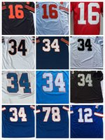 Wholesale Walter White Shirt - Throwback 16 Joe Montana Bruce Smith 12 Jim Kellys 34 Thurman THOMAS jerseys Earl Campbell Bo Jackson Walter Payton men Vintage Retro shirt