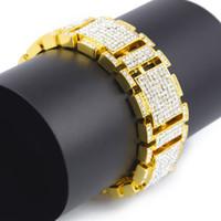 Wholesale Fashion Tv Diamond - 2017 New Arrival Hip Hop Bracelet Men's Luxury Simulated Diamond Fashion Bracelet High Quality Bling Bracelets & Bangles