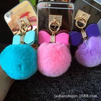 llaveros móviles nuevos al por mayor-2016 Nueva felpa de cuero joyería de 8 cm de conejo Rex bola arco accesorios pendientes de la bolsa de teléfono móvil con flecos
