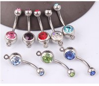 Wholesale Belly Ring Add - 50pcs wholesale belly button ring Sexy double gem add your own charm Double Crystal CZ belly rings Navel Rings piercing umbigo