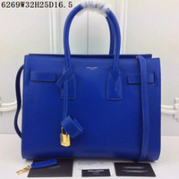 Wholesale Genuine Leather Handbag Free Shipping - Own brand Leather Totes with shoulder belts Women casual handbags Large volume Middle Totes 3 layers inside free shipping