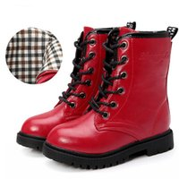 Wholesale Children Fashion Boots Shoes - Boots 5-Girls PU Leather Ankle Boots New 2017 Autumn Winter Fashion Girls Rubber Boots Solid Cool Children Winter Shoes