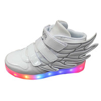 Wholesale Children Wings Dance - 2016 NEW children Casual Shoes Kid boy girl LED light up Casual athletic wings shoe High Student dance Boot USB Charge DHL