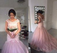 Wholesale Pretty Chic - Chic Pretty 2018 Tulle Pink Prom Dresses Scoop Neck Cap Sleeves Lace Appliqued With Sequined Mermaid Dresses Party Evening