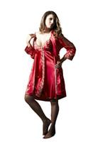 Wholesale Sexy Night Robe Set - Wholesale-2016 Night Gowns Robe Sets 2 Pieces Women Sleep Suits 2pcs Pajama Sets Sleepwear Womens Nightwear Summer Night Skirts AU80002