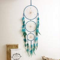 Wholesale Handmade Crafts For Home Decoration - Handmade Dream Catcher Net With Feathers Wall Hanging Craft Gift for Home Decorations Blue Purple Black