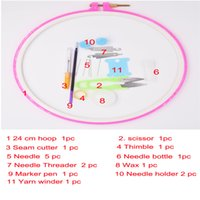 Wholesale Wholesale Embroidery Hoops - 24cm round frame for embroidery with necessare tools set for home diy patchwork as sewing tools as cross stitch hoops for sale