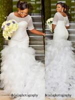 ingrosso abiti da sposa in rilievo corto-Sexy Mermaid Guaina Manica Corta In Rilievo Nigeriano Plus Size Bianco Bling Inverno Steven Khalil Abiti Da Sposa 2017 Abiti Da Sposa