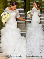 Wholesale Bling Sheath Wedding Dress - Sexy Mermaid Sheath Short Sleeve Beaded Nigerian Plus Size White Bling Winter Steven Khalil Wedding Dresses 2017 Bridal Gwons