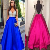 Wholesale Purple Evening Necklace Set - 2017 New Sexy Guest Dresses V-Neck Prom Dresses A-Line Beads Satin Backless Zipper Evening Dresses Custom Made With Free Necklace Set