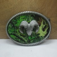 Cheap Wholesale-Aries and green leaves belt buckle belt buckle Texas Fashion Mens Western Turbo Nos Tunning suitable for 4cm wideth belt