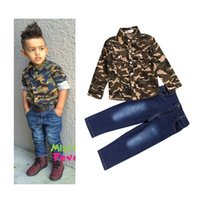 Wholesale Handsome Shirts - PrettyBaby 2016 New arrival children clothing sets baby boys clothes camouflage shirt denim jeans 2pcs handsome boy suits free shipping