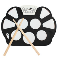 Wholesale Digital Electronic Drum Pad - Wholesale-W758 Digital Portable 9 Pad Musical Instrument Electronic Roll-up Drum Kit